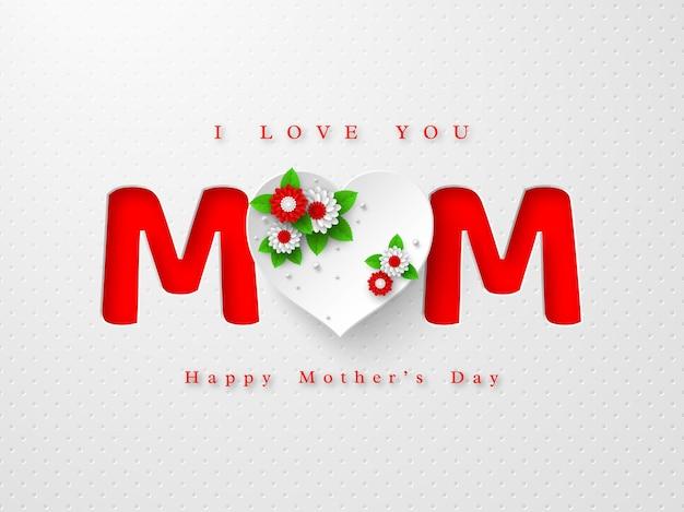 Kartkę z życzeniami szczęśliwego dnia matki. słowo mama w stylu papierowego rzemiosła z sercem 3d ozdobionym kwiatami na białym tle cętkowanym. ilustracja.