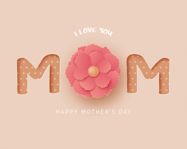 Kartkę z życzeniami szczęśliwego dnia matki w stylu cięcia papieru. cyfrowa sztuka rzemiosła papierowego.