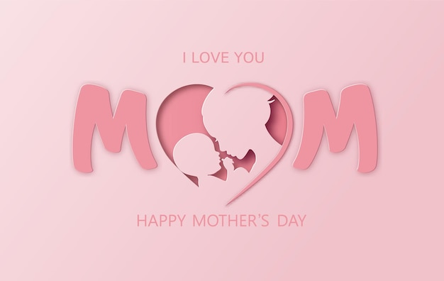 Kartkę z życzeniami szczęśliwego dnia matki z mamą i dzieckiem. cięcie papieru