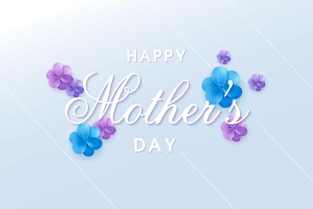 Kartkę z życzeniami szczęśliwego dnia matki z projektem typografii i kwiatem
