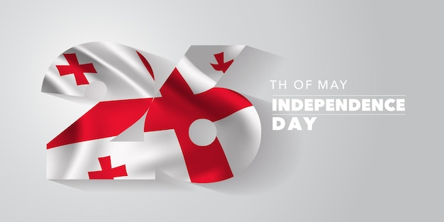 Kartkę z życzeniami szczęśliwego dnia niepodległości gruzji, baner, ilustracja.