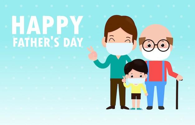 Kartkę z życzeniami szczęśliwego dnia ojca. wielki tata z synem i noszący maski medyczne, aby zapobiec koronawirusowi ilustrującemu chorobę (2019-ncov) covid-19