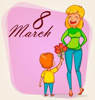 Kartkę z życzeniami szczęśliwego międzynarodowego dnia kobiet