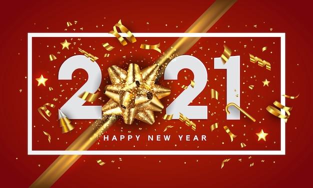 Kartkę z życzeniami szczęśliwego nowego roku 2020. projekt wakacje udekoruj liczbami i złotą kokardką na czerwonym tle.