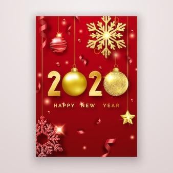 Kartkę z życzeniami szczęśliwego nowego roku 2020 z błyszczącymi cyframi, gwiazdkami, kulkami i wstążkami.