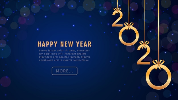 Kartkę z życzeniami szczęśliwego nowego roku 2020 z wiszącymi złotymi numerami, brokatem, bokeh.