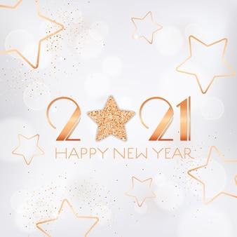 Kartkę z życzeniami szczęśliwego nowego roku 2021 ze złotymi gwiazdami i brokatem na białym niewyraźne tło ze złotymi błyskotkami i typografią. ulotka z zaproszeniem lub projekt broszury promocyjnej, elegancka pocztówka noworoczna
