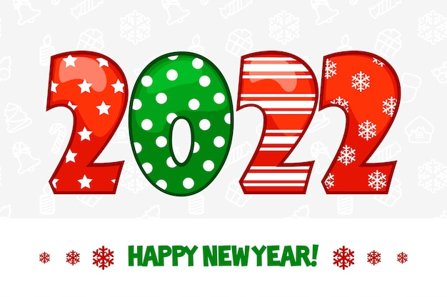 Kartkę z życzeniami szczęśliwego nowego roku 2022 na białym tle.