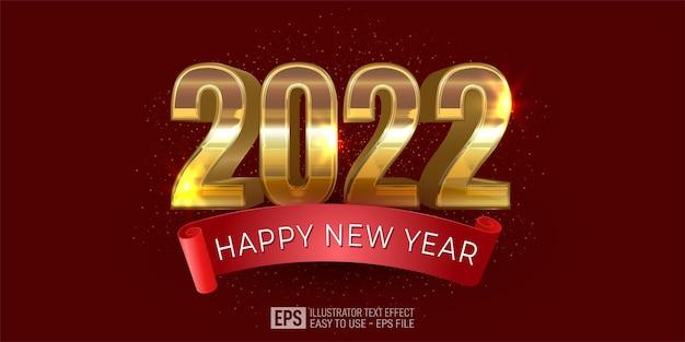 Kartkę z życzeniami szczęśliwego nowego roku 2022 w złotym wzorze