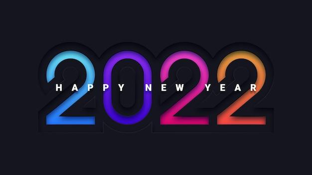 Kartkę z życzeniami szczęśliwego nowego roku 2022 z kolorowym nowoczesnym wzornictwem