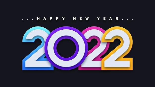 Kartkę z życzeniami szczęśliwego nowego roku 2022 z kolorowym wzorem 3d