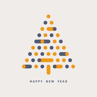 Kartkę z życzeniami szczęśliwego nowego roku choinka o geometrycznych kształtach