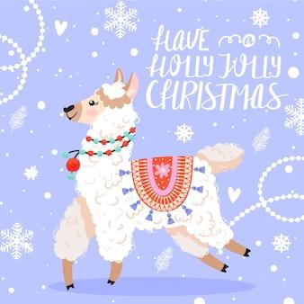 Kartkę z życzeniami szczęśliwego nowego roku. lama z dekoracjami świątecznymi.