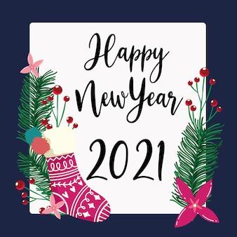 Kartkę z życzeniami szczęśliwego nowego roku pończochy i dekoracje kwiaty