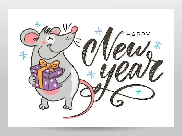 Kartkę z życzeniami szczęśliwego nowego roku z charakterem szczura lub myszy