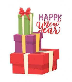 Kartkę z życzeniami szczęśliwego nowego roku z kupą prezentów