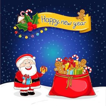 Kartkę z życzeniami szczęśliwego nowego roku z mikołajem