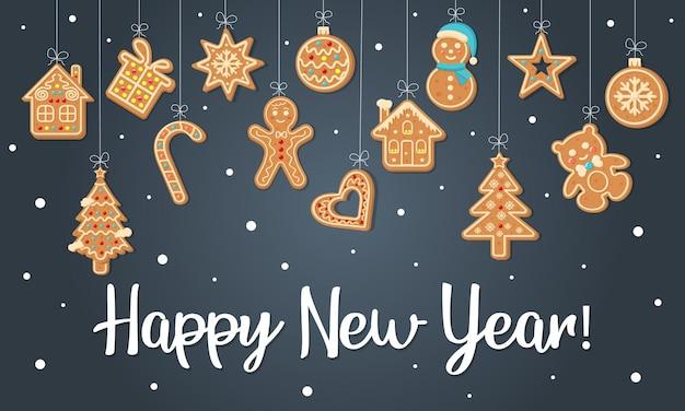 Kartkę z życzeniami szczęśliwego nowego roku z wiszącymi piernikami. ilustracja wektorowa.