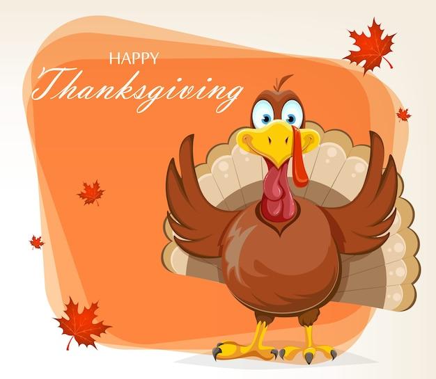 Kartkę z życzeniami szczęśliwego święta dziękczynienia. zabawny ptak indyka