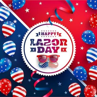 Kartkę z życzeniami szczęśliwego święta pracy. święto pracy w usa z flagą amerykańskich balonów, gwiazdą i narzędziami.
