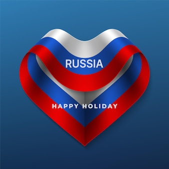 Kartkę z życzeniami szczęśliwego święta rosji z trójkolorową wstążką w kształcie serca