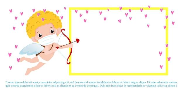 Kartkę z życzeniami szczęśliwego walentynki z uroczym amorem noszącym maskę chroniącą wirusa koronowego lub covid-19 w wakacjach miłości na białym tle