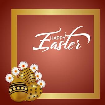 Kartkę z życzeniami szczęśliwej uroczystości wielkanocnej z króliczkiem wielkanocnym i jajkiem wielkanocnym