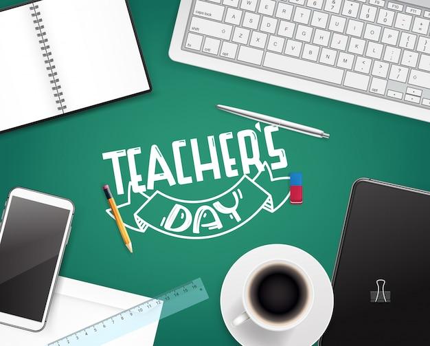 Kartkę z życzeniami szczęśliwy dzień nauczycieli. koncepcja widok z góry