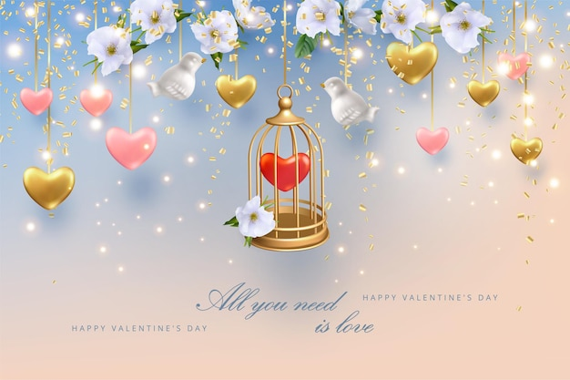 Kartkę z życzeniami szczęśliwych walentynek. złota klatka z sercem w środku, kwiatami i sercami