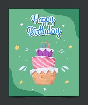 Kartkę z życzeniami urodzinowymi dla dzieci akwarela