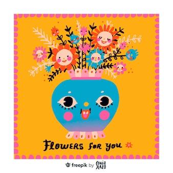 Kartkę z życzeniami urodzinowymi ładny kwiat wazon