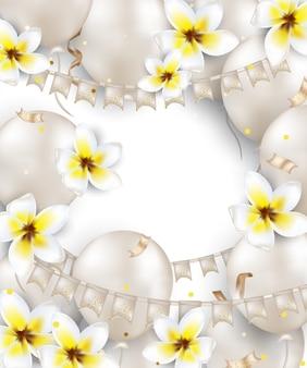 Kartkę z życzeniami urodzinowymi z białymi balonami, kwiatami plumeria, girlandą flagi, konfetti, światła. tło na wakacje, zaproszenia ślubne, imprezy, wyprzedaże, promocje. .