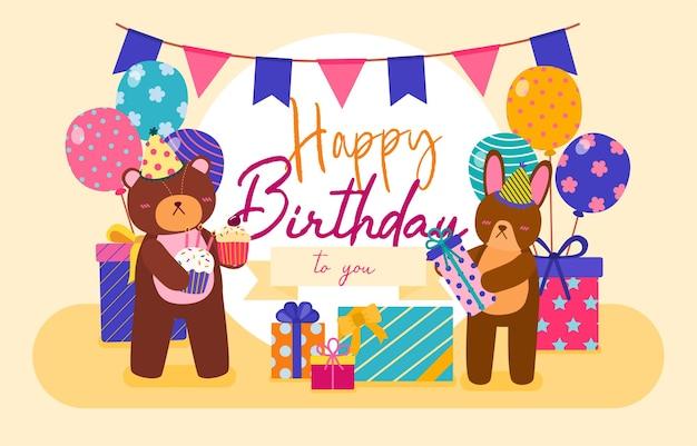 Kartkę z życzeniami urodzinowymi zwierząt kreskówki. zwierzę ma urodziny w domu. dekoracja urodzinowa z balonem i flagami. ilustracja kreskówka uroczystości w stylu płaski