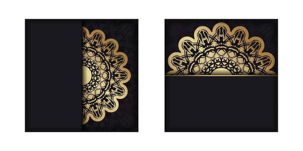 Kartkę z życzeniami w kolorze czarnym z antycznymi złotymi ozdobami na gratulacje.