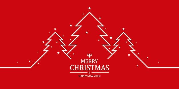 Kartkę z życzeniami wesołych świąt czerwone tło z drzewami i gwiazdami w stylu płaski