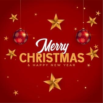 Kartkę z życzeniami wesołych świąt i nowego roku z gwiazdami i bombką bożonarodzeniową