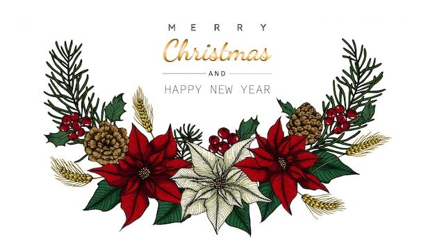 Kartkę z życzeniami wesołych świąt i nowy rok z kwiatów i liści