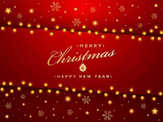 Kartkę z życzeniami wesołych świąt i szczęśliwego nowego roku ozdobiono złotymi gwiazdkami, płatkami śniegu i girlandą oświetleniową na czerwono.