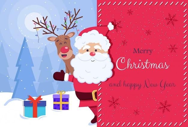 Kartkę z życzeniami wesołych świąt i szczęśliwego nowego roku. święty mikołaj i jeleń