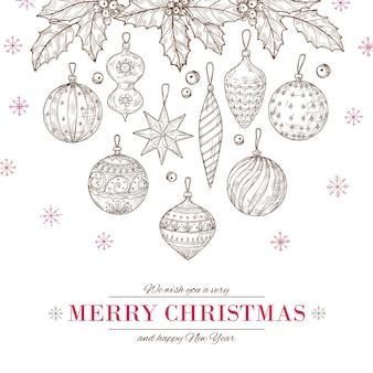 Kartkę z życzeniami wesołych świąt i szczęśliwego nowego roku z ozdobami choinkowymi oraz liśćmi ostrokrzewu i jagodami.