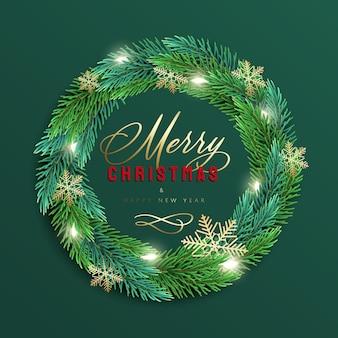 Kartkę z życzeniami wesołych świąt i szczęśliwego nowego roku z realistycznym kolorowym wieńcem z gałęzi sosny