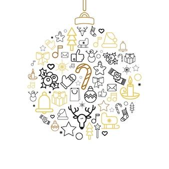 Kartkę z życzeniami wesołych świąt. ilustracje świąteczne szczęśliwego nowego roku w stylu konspektu. wektor