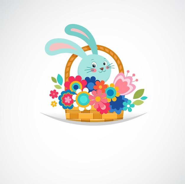 Kartkę z życzeniami wesołych świąt, kosz z kwiatami i jajkami, plakat, królik, ilustracja