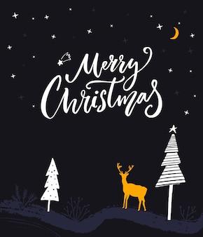 Kartkę z życzeniami wesołych świąt odręczna kaligrafia i płaska ilustracja zimowej nocy lasu