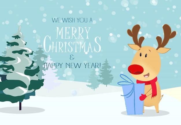 Kartkę z życzeniami wesołych świąt. śliczne renifery