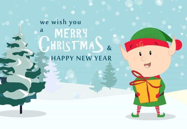Kartkę z życzeniami wesołych świąt. śliczny elf