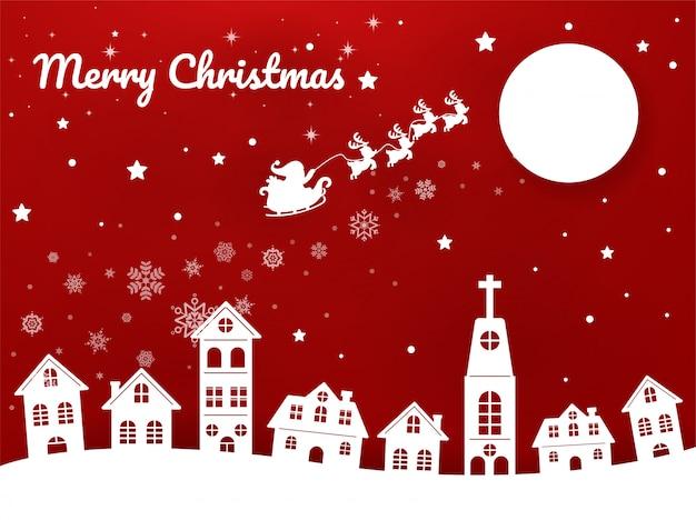 Kartkę z życzeniami wesołych świąt, święty mikołaj jedzie rikszą po niebie miasta, aby dać dzieciom prezenty świąteczne.