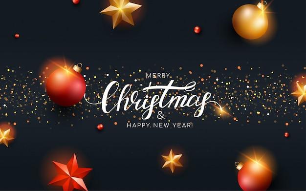 Kartkę z życzeniami wesołych świąt z czerwonymi i złotymi kulkami, gwiazda, brokat. szablon karty z pozdrowieniami nowy rok.