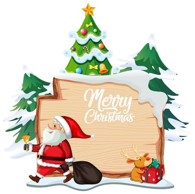 Kartkę z życzeniami wesołych świąt z drewnianą deską z postacią świętego mikołaja na białym tle