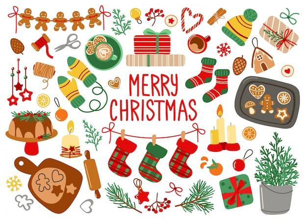 Kartkę z życzeniami wesołych świąt z elementami dekoracyjnymi na boże narodzenie